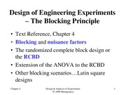 Lecture4 The Blocking Principle for Design of Engineering Experiments