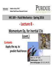 Lecture 8 - momentum eq for CV instructor after