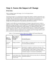 Step 2 - Assess the Impact of Change