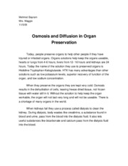 CP Biology A - Osmosis and Organ Preservation