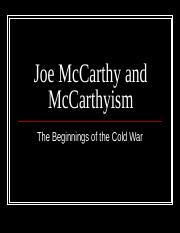 McCarthyism and Joe McCarthy.ppt