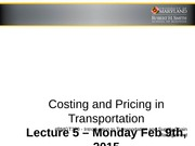 Pricing and Costing in Transportation