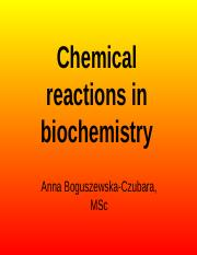 Chemical reactions in biochemistry