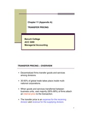 Chapter 11 (Appendix A) Transfer Pricing