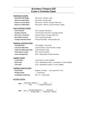 BFIN 620 Exam 1 Formula Sheet NEW