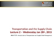 Transportation and the Supply Chain