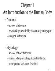 A&P Chap 1 INTRO TO ANATOMY