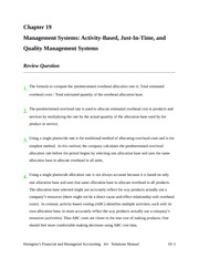 Chapter 19 Homework Solutions - JIT, Quality Management
