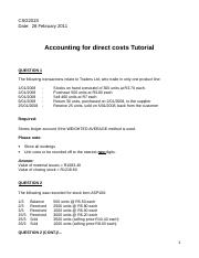 Accounting for direct costs Tutorial - 28 February 2011.doc