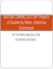 NATION COMING OUT DAY Projects of Quotes by 50 .ppt