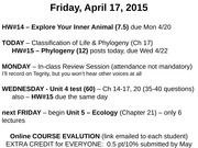 Lect 32 - Classification of LIfe & Phylogeny (Ch 17) April 17, 2015