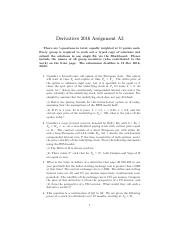 Assignment A3 Derivatives 2016