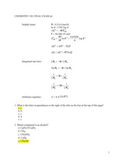 CHEMISTRY 102 FINAL EXAM - VERSION A - with answers