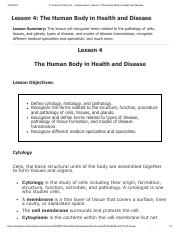 Lesson 4 - The Human Body in Health and Disease