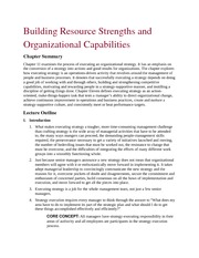 Building Resource Strengths and Organizational Capabilities