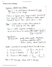 Newton's Law of Motion Notes