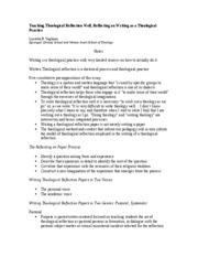 Religion 399 - Teaching Theological Refection Article - Notes