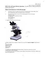 Lab Exam 2 Review-Spring 2018 docx - 1 BIOL 150 Lab Labs 7 8