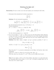 Quiz 3 Solution on Calculus