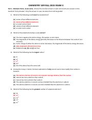 CHEM109 Exam 4 FA 2015 GOLD KEY(1)