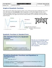 Section 3.1 - Quardratic Functions