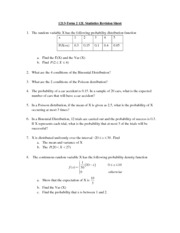 Statistics Revision Sheet Final Term 2