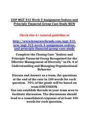 UOP MGT 312 Week 3 Assignment Sodexo and Principle Financial Group Case Study NEW.doc