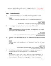 Chapter 25 Sole Proprietorships and Partnerships Answer Key