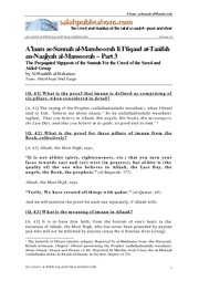 The Propagated Signposts of the Sunnah for the Creed of the Saved and Aided Group - Part 3