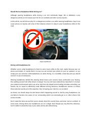 Should We Use Headphone While Driving Car.docx