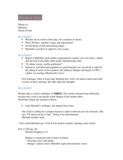 Macbeth Notes