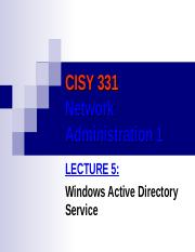 CISY 331 Lecture5 Active Directory Service
