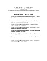 in class--new 2013 Health Teaching Plan Worksheet