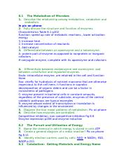 Micro Bio Chapter 8 Learning Objecitves