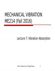 ME214 Lecture 7 Vibration Absorption.ppt