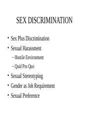 What is sex plus discriminaton