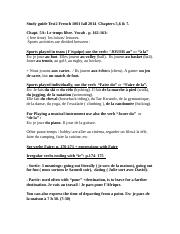 Study guide Test2 French 1001 fall2014