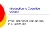 Lecture 13 - A Summary Of Cognitive Science