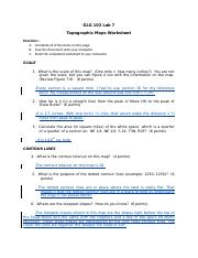 GLG103 Lab 07 - Topographic maps Worksheet_Completed