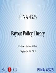 Lecture 5 - Payout Policy