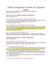 Chapter 20 Aggregate Demand and Aggregate Supply