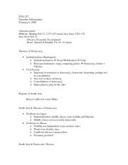 Feb 6 Lecture Notes - India & Pakistan