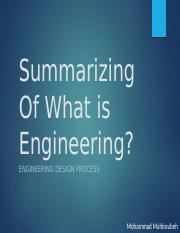 Summarizing Of What is Engineering