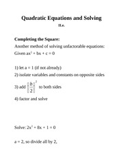Quadratic Equations and Solving compsquare( Section 1.3)