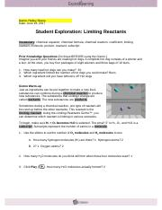 Chemical Changes Gizmo Lab Mod 1 - Name Halley Sheirs Date ...