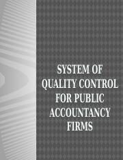 SYSTEM OF QUALITY CONTROL FOR PUBLIC ACCOUNTANCY FIRMS