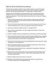 GEOL241 Fall 2013 Final Exam Review Questions