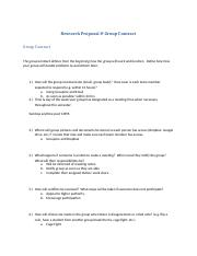 Research Proposal & Group Contract Final