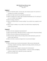 MKT300-401 Fall 2010 Exam 4 Reviews Sheet