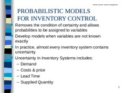 Chapter 5 Probabilistic Models for Inventory Control